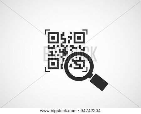 qr code with magnifying glass icon - business concept