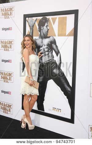 LOS ANGELES - JUN 25:  Sofia Vergara, Joe Manganiello Magic Mike XXL Poster at the