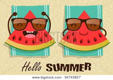 Vector watermelons cartoon character illustration. Hello Summer.