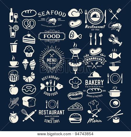 Food logotypes set. Restaurant vintage design elements, logos, badges, labels, icons and objects