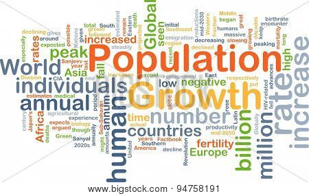 Background concept wordcloud illustration of population growth
