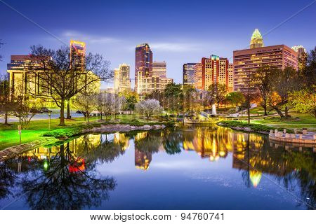 Charlotte, North Carolina, USA uptown skyline at Marshall Park.
