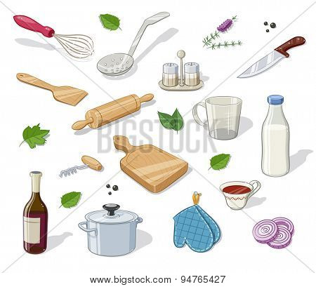 Kitchen utensils. Set of  Eps10 vector illustration. Isolated on white background