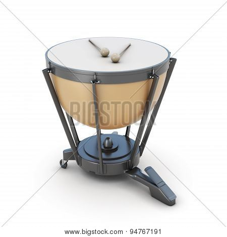 Timpani Isolated On White Background