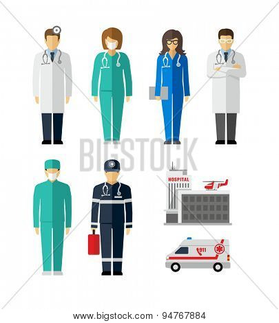 Hospital Doctor Surgeons Nurse Paramedic vector figures icons