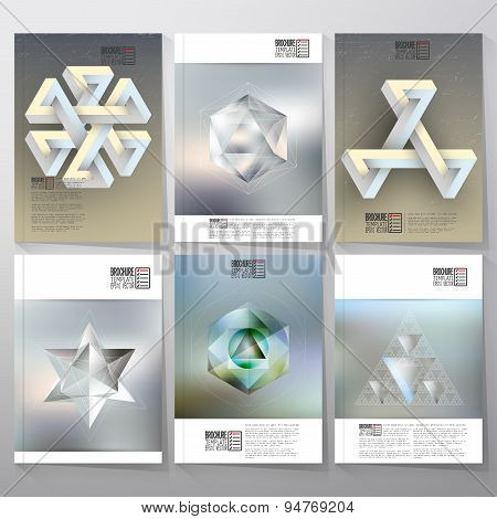 Unreal impossible geometric figures, polygon patterns with reflections. Brochure, flyer or report fo