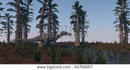 walking hunting suchomimus dinosaurus