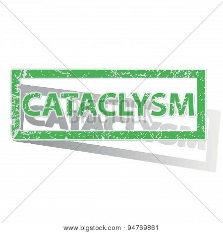 Green outlined CATACLYSM stamp