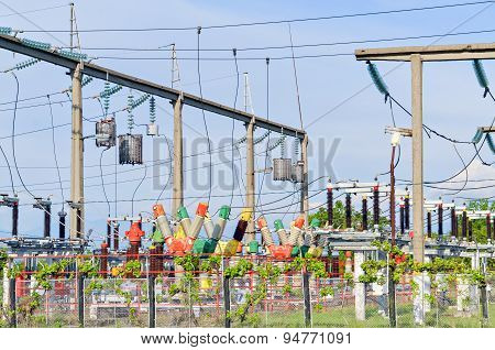 Substation for high voltage conversion and distribution of electricity poster