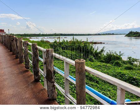 Khong River At Ahong Silawas Temple In Bueng Kan ,thailand