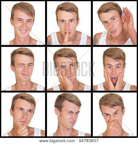 set of emotions of young man