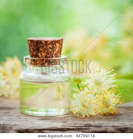 Bottle Of Essential Linden Oil And Yellow Lime Flowers.