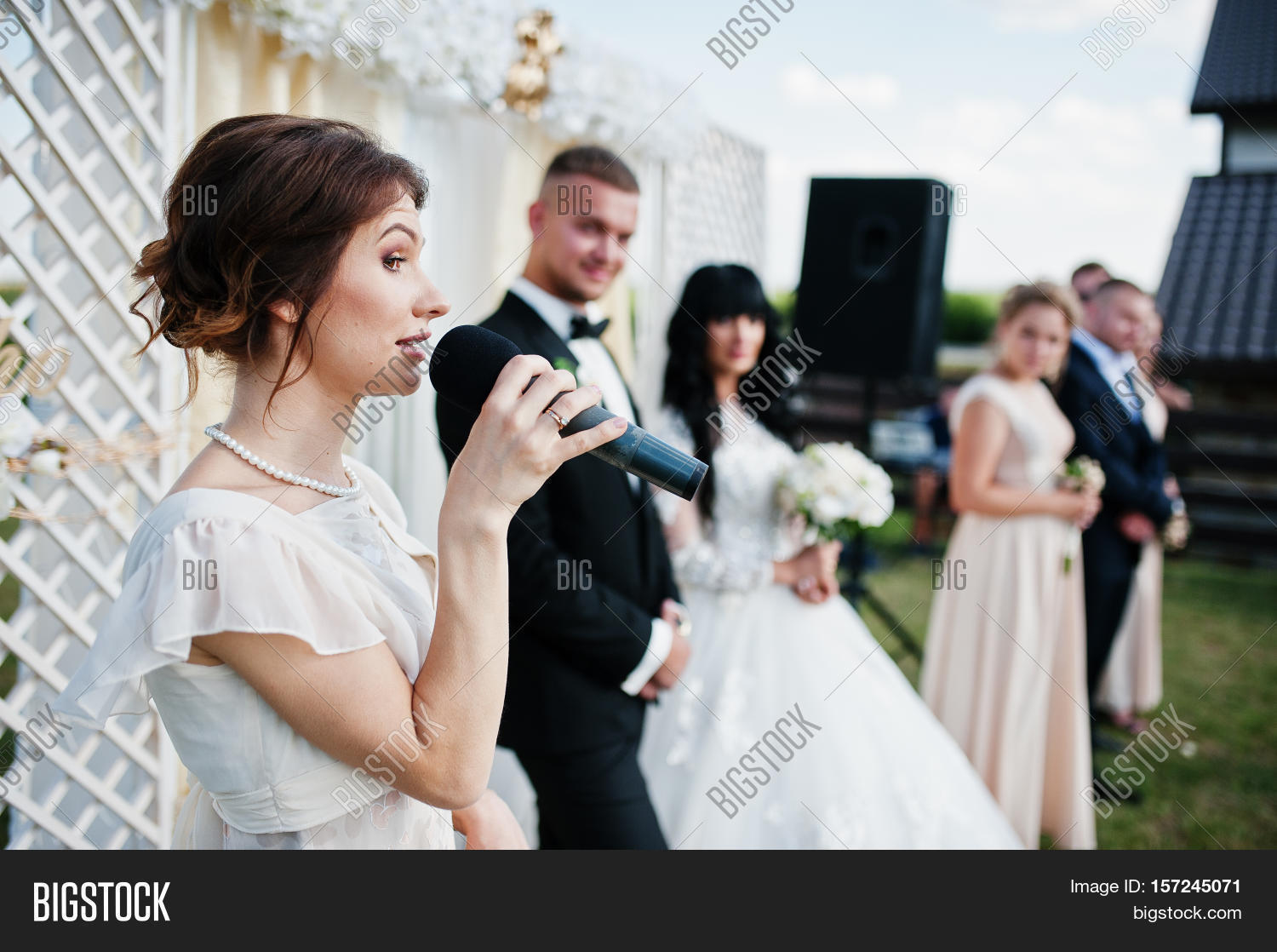 Master Of Ceremony Sch On Microphone Background Wedding