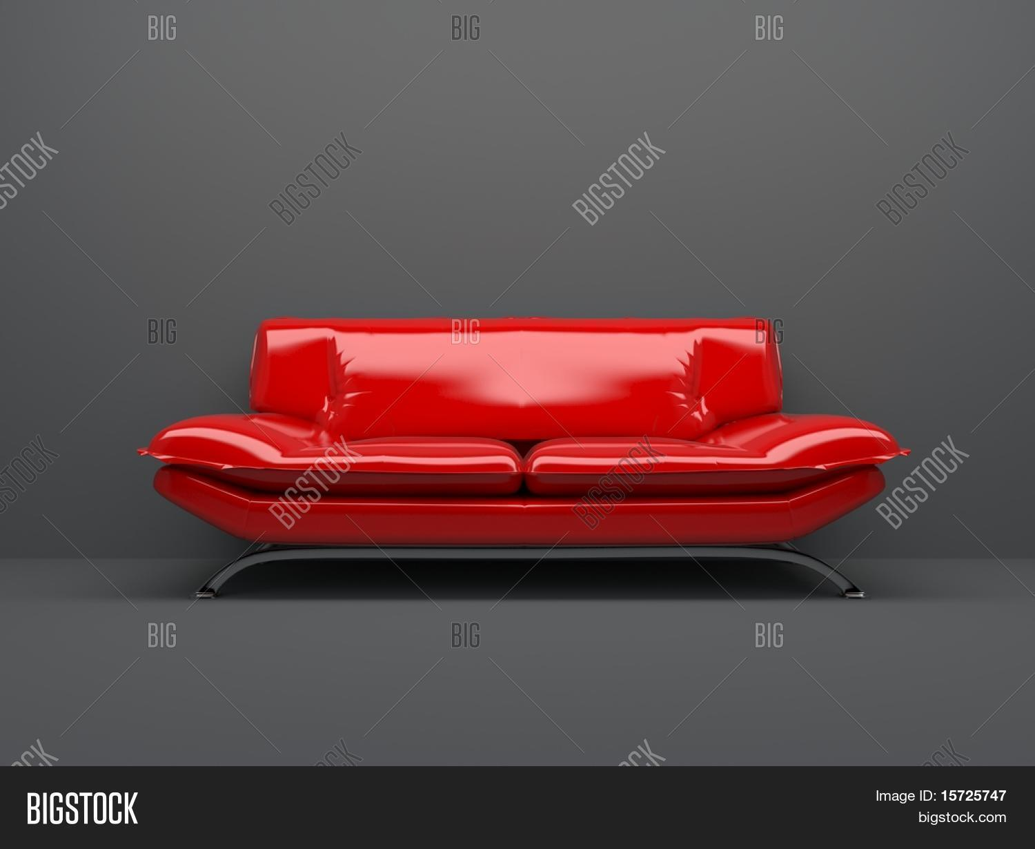Red Sofa Isolated On Deep Gray Background