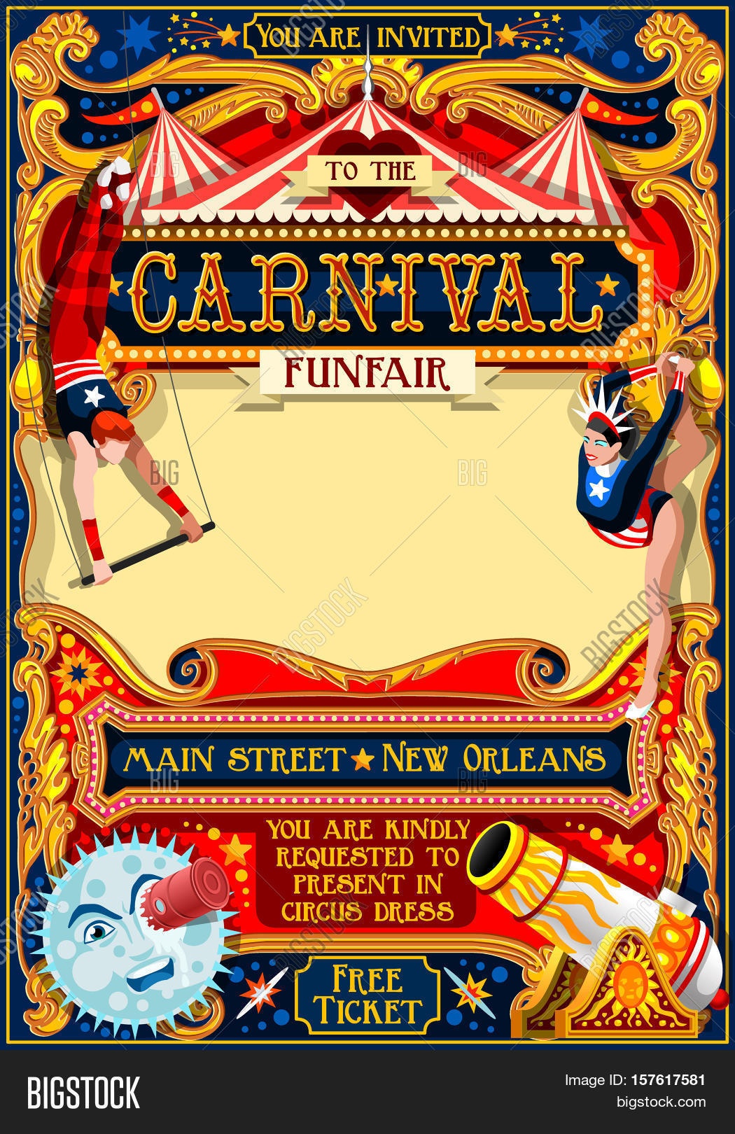 Circus Juggler Show Retro Template Cartoon Poster Invite Kids Birthday Party Insight
