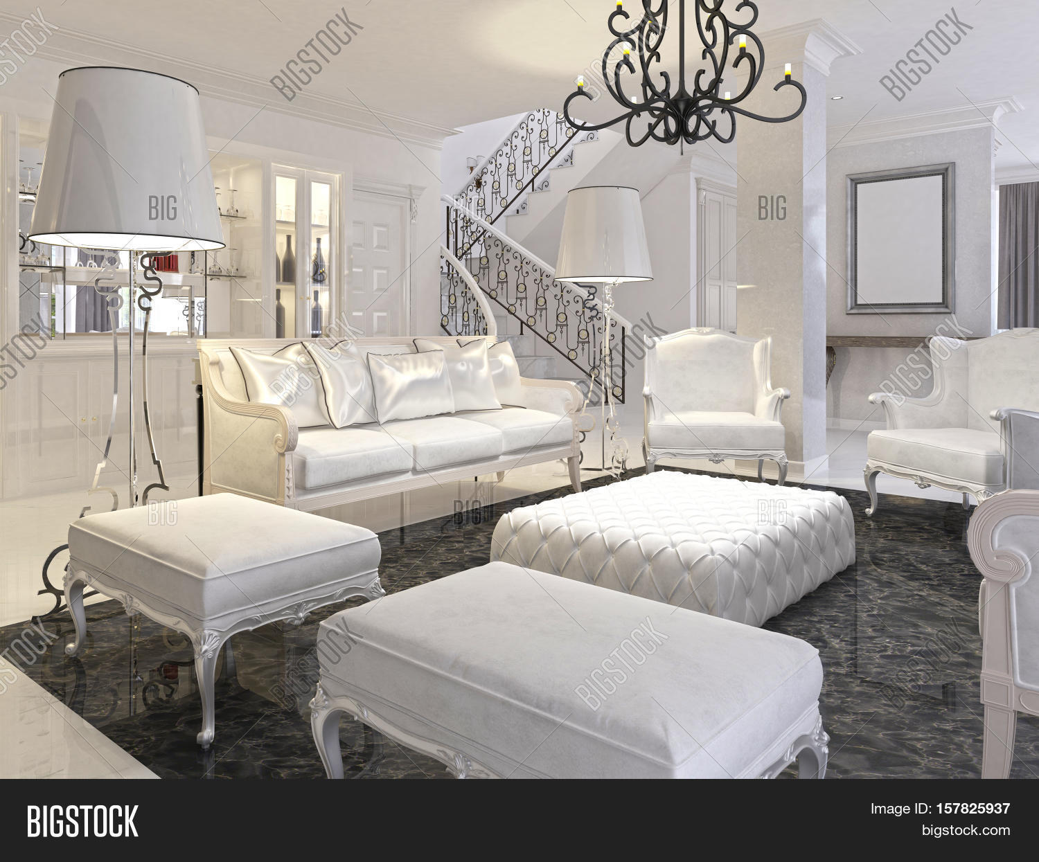 Luxury White Living Image Photo Free Trial Bigstock