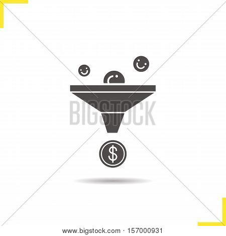 Sales funnel icon. Drop shadow silhouette symbol. Marketing funnel concept. Negative space. Vector isolated illustration