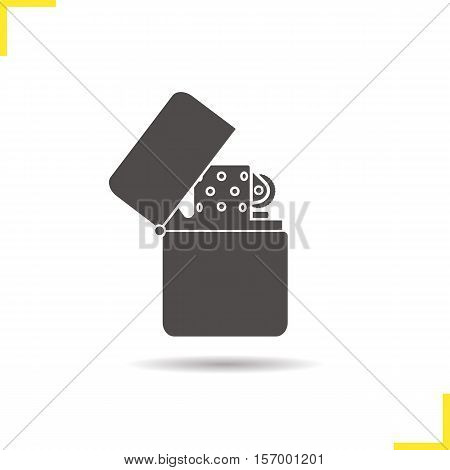 Gasoline lighter icon. Drop shadow silhouette symbol. Flip lighter. Negative space. Vector isolated illustration