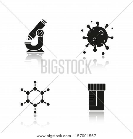 Science laboratory equipment drop shadow black icons set. Microscope, molecule structure and virus, medical lab tests jar. Isolated vector illustrations