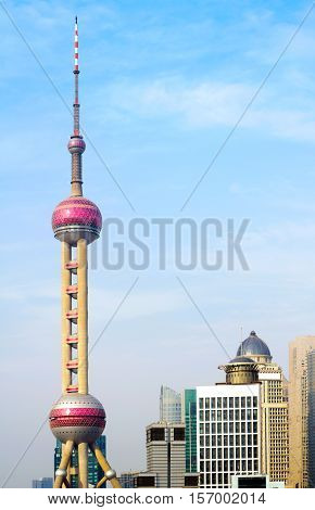 SHANGHAI - May 14: Shanghai landmark-Oriental Pearl Tower China on May 14 2011 in Shanghai China. One of the Top Ten Shanghai Attractions.