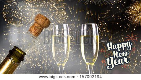 Print against close up of champagne cork popping