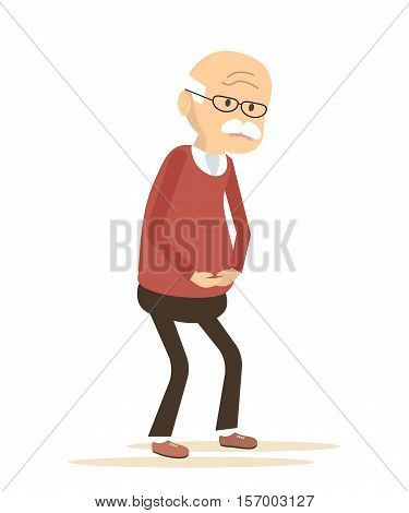 Old man with griping. Elderly man sick. Vector illustration flat design.