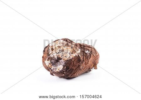 Photo spoiled potatoes isolated on white background. Bad products