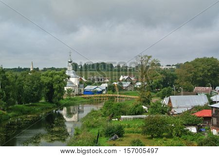 View of the Suzdal Kremlin (XII century). Gold ring of Russia. Orthodox architecture