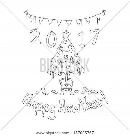 Coloring book page. Happy New Year greeting card with spruce. Cartoon style. Hand draw vector illustration. Black outline.