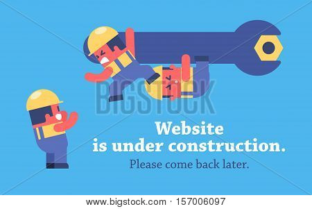 Page under construction design. Funny cartoon workers repairing website using huge spanner.