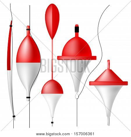 Set of fishing bobbers. Fishing tackle isolated on white background.