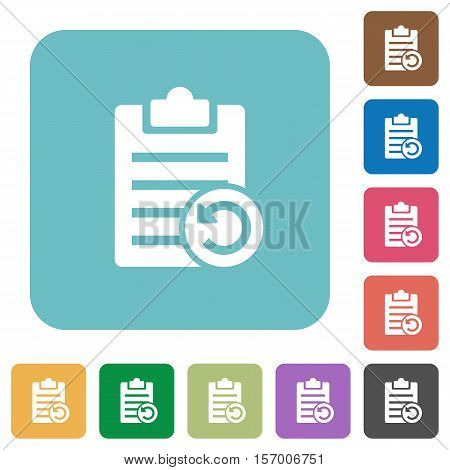 Undo note changes white flat icons on color rounded square backgrounds poster