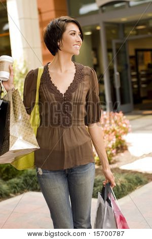Young woman shopping at an outdoor mall