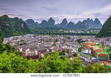 Skyline Of Yangshuo City With Li River, China