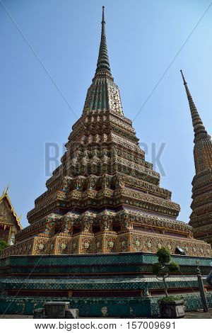 Phra Maha Chedi atTemple of the Reclining Buddha, AsiaTemple Wat Pho in Bangkok - Thailand.