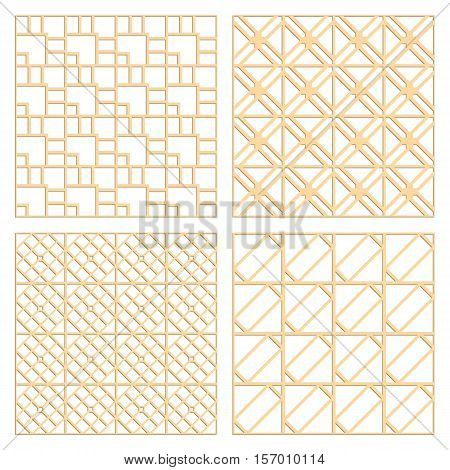 DIY laser cut vector patterns. Art Deco die cut patterns. Ornaments for partition wall. Woodcut panels.