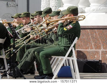 MOSCOW, RUSSIA - May 28, 2016: Military brass band trombonists and trumpet players during the performance. Festival of military orchestras