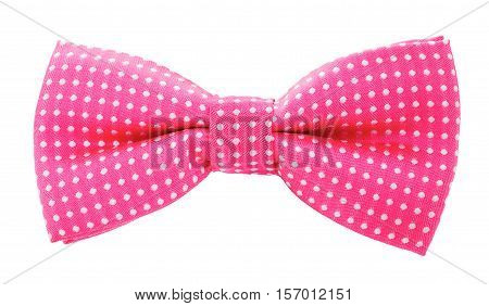 Pink With White Polka Dots Bow Tie