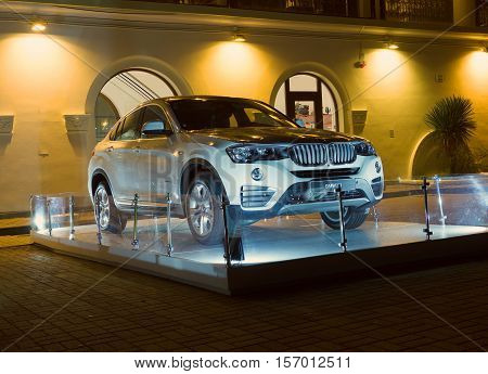 Sochi, Russia - October 12, 2016: Bmw x4 New model of the brand BMW near a dealer's showroom.