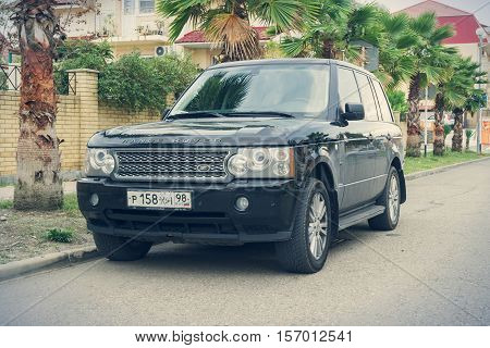 Sochi, Russia - October 11, 2016: Range Rover parked on the street of Sochi City. The Range Rover was launched in 1970. It is now in its fourth generation.