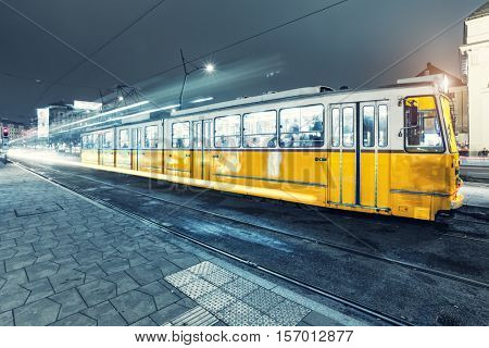 Old Tram in the city center of Budapest, Old Tram At Train Stations in Budapest, Hungary.