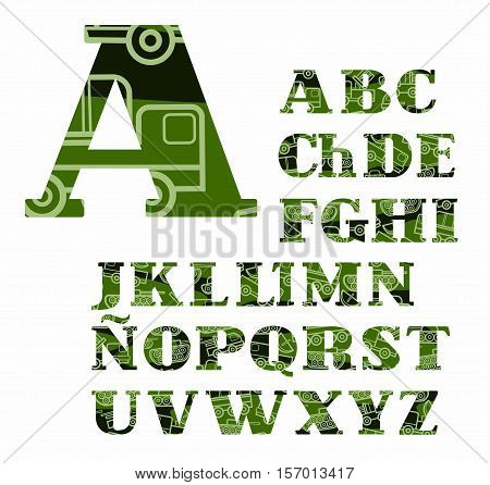Spanish alphabet, military equipment, uppercase, vector, font, color. Green, uppercase letters of the Spanish alphabet with linear images of military equipment. Letters with serifs. Military disguise.