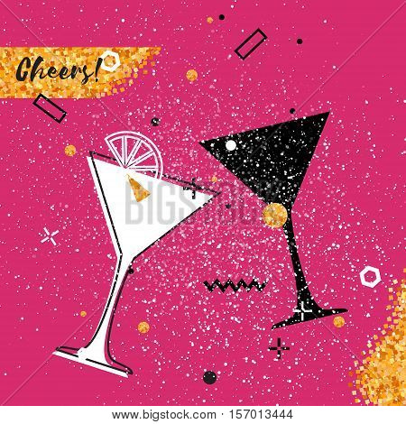 Martini clinking glasses with Gold Glitter elements on pink background. Cheerful holiday. Alcoholic beverages. Concept party celebration. Vector Illustration.