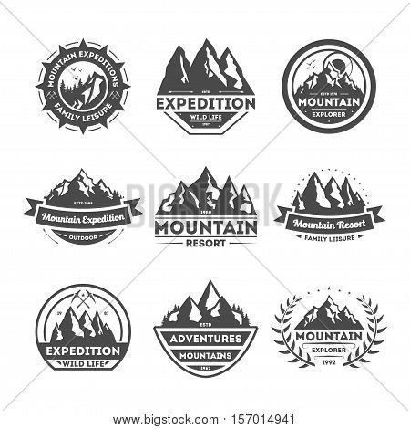 Mountain explorer vintage isolated label vector illustration. Family leisure symbol. Mountain expeditions icon. Wild life concept. Adventure outdoor resort and hiking logo. Mountain range sign