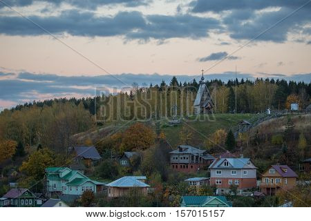 Landscape of old beautiful russian village Plyos