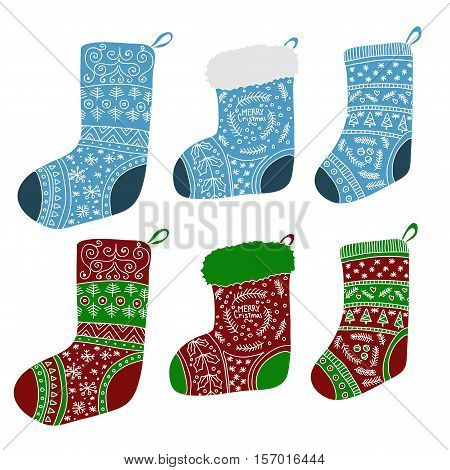 Vector collection of colored Christmas stockings. Stylized winter socks. Set of decorative Christmas stockings with ornaments. Merry Christmas.