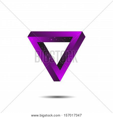 Vector illustration of optical illusion triangle with smooth gradient and glowing effect
