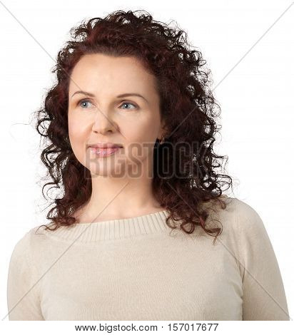 Portrait of Woman Looking Sideways, Isolated on Transparent Background