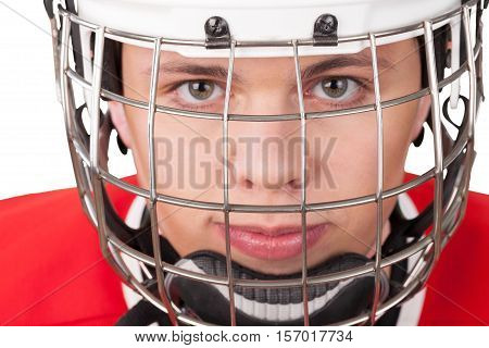 Portrait of Ice Hockey Goalie Isolated on Transparent Background