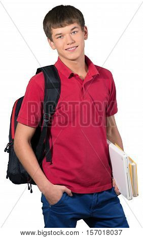 Teen male preppy holding laptop and school books